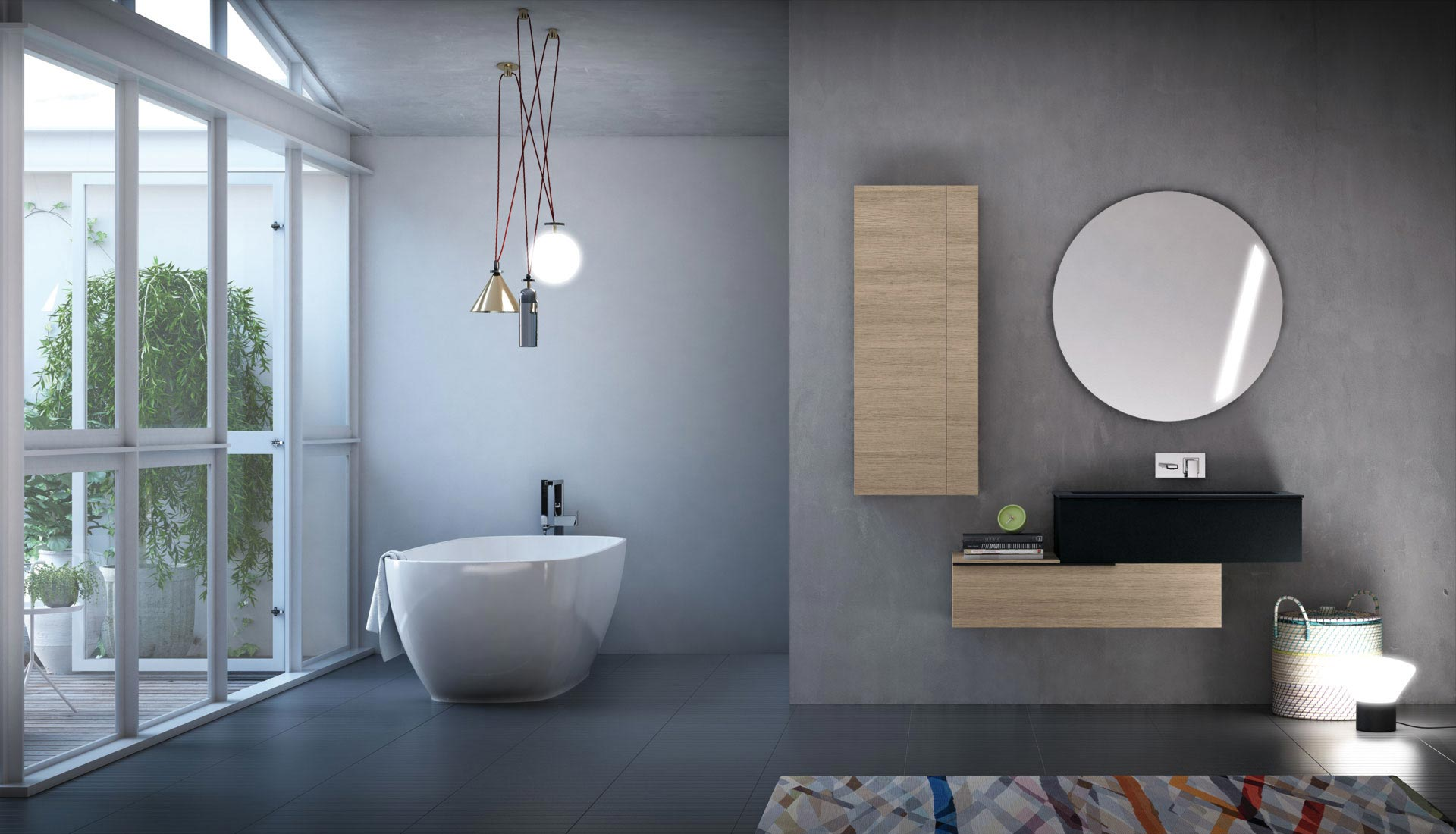 Bathroom furniture with handle - Puntotre Arredobagno