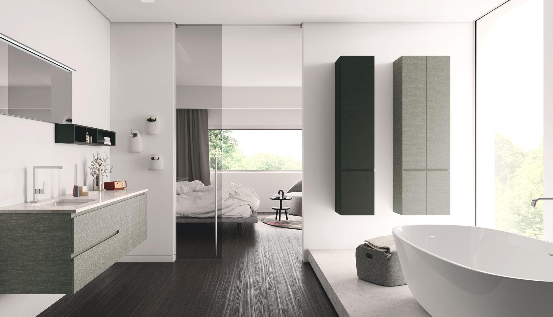 Arredo bagno senza maniglia con gola puntotre arredobagno for Ceramiche per bagno moderno